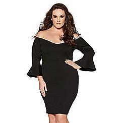 Quiz - Curve black bardot frill sleeves dress