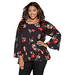 Quiz - Curve black and red floral frill top