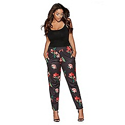 Quiz - Curve black and red floral print tapered trousers