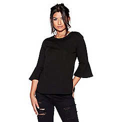 Quiz - Black crepe 3/4 flute sleeves top