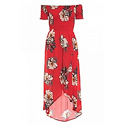 Quiz - Red crepe floral print bardot wrap front dress
