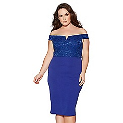Quiz - Curve royal blue lace bardot midi dress