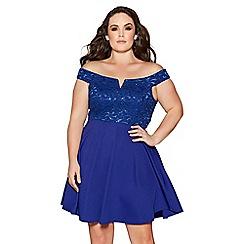 Quiz - Curve royal blue lace bardot skater dress