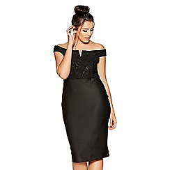 Quiz - Curve black lace bardot dress