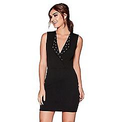 Quiz - Black pearl detail bodycon mini dress
