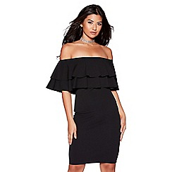 Quiz - Black double frill bardot bodycon dress
