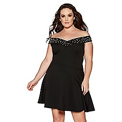 Quiz - Curve black pearl embellished bardot skater dress