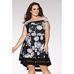 Quiz - Curve black and grey floral skater dress
