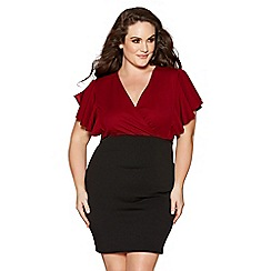 Quiz - Curve berry and black wrap over frill sleeves dress