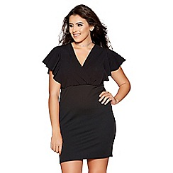 Quiz - Curve black wrap over frill sleeves dress