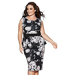 Quiz - Curve black and grey floral sleeveless peplum dress