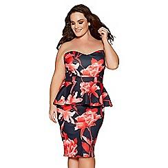Quiz - Curve black and red floral print peplum midi dress