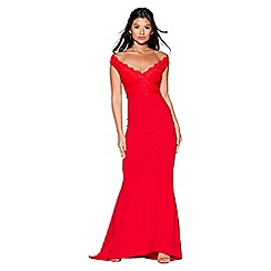 Quiz - Red bardot lace fishtail maxi dress