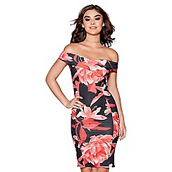 Quiz - Black and red floral print bardot midi dress