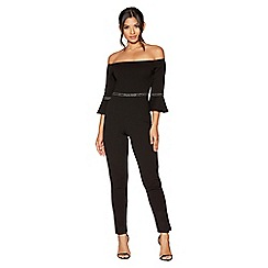 Quiz - Black diamante waist detail bardot jumpsuit