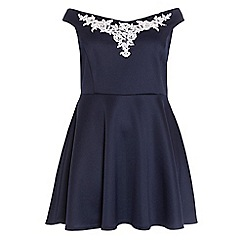 Quiz - Curve navy and cream embroidered skater dress