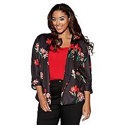 Quiz - Curve black and red floral print 3/4 sleeves jacket