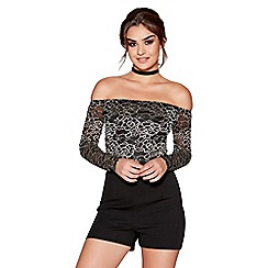 Quiz - Black and gold mesh sleeve bardot playsuit