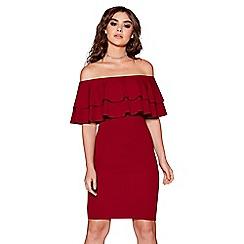 Quiz - Berry double frill bardot bodycon dress