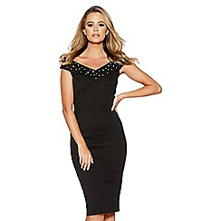 Quiz - Black Pearl Detail Bardot Midi Dress
