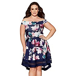 Quiz - Curve navy and purple floral print mesh skater dress