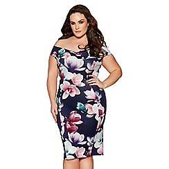 Quiz - Curve navy and purple floral print bardot midi dress