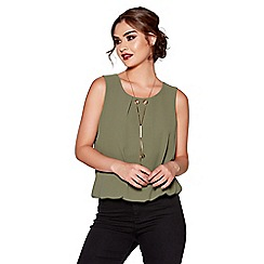 Quiz - Khaki chiffon necklace bubble top