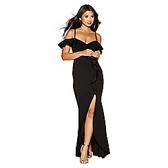 Quiz - Black ruffle cold shoulder maxi dress