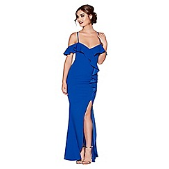 Quiz - Royal blue crepe ruffle cold shoulder maxi dress