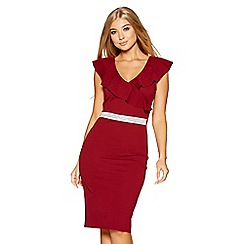 Quiz - Wine frill diamante waist midi dress