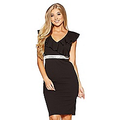 Quiz - Black frill diamante waist midi dress