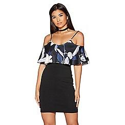 Quiz - Black floral print frill layer cold shoulder dress