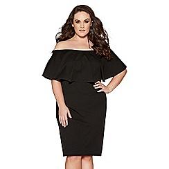 Quiz - Curve black bardot frill pencil dress