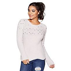 Quiz - Grey knit embellished scallop trim jumper