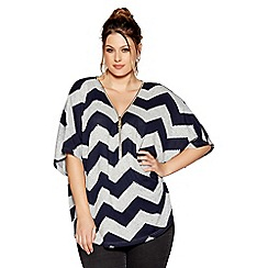 Quiz - Curve grey and navy zig zag light knit zip front top