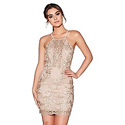 Quiz - Gold and nude embroidered applique bodycon dress