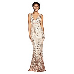 Quiz - Rose gold sequin v-neck fishtail maxi dress