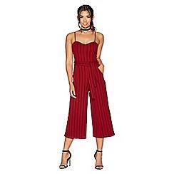 Quiz - Berry and black stripe tie belt culotte jumpsuit
