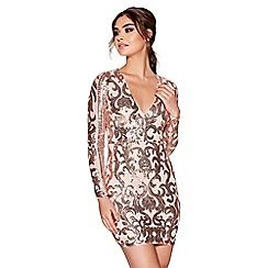 Quiz - Nude and rose gold sequin v-neck long sleeved dress