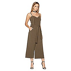 Quiz - Khaki and black stripe tie belt culotte jumpsuit