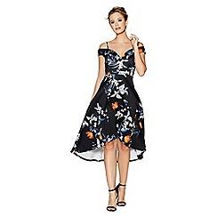 Quiz - Black floral sweetheart neck strappy bardot dress