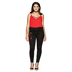 Quiz - Curve black and red embroidered jeans
