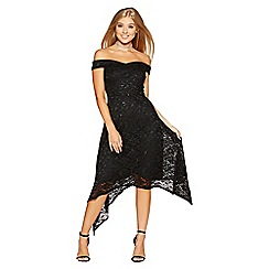 Quiz - Black lace sequin asymmetric dip hem dress