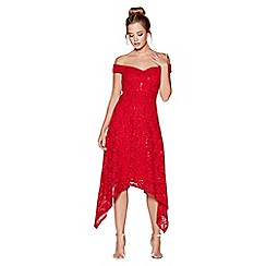 Quiz - Red sequin lace bardot dip hem dress