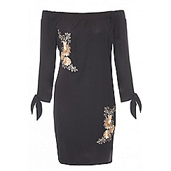 Quiz - Black and gold crepe bardot embroidered tunic dress
