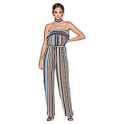 Quiz - Blue tan and cream stripe strapless jumpsuit