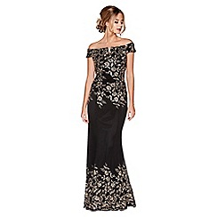 Quiz - Black and gold sequin embellished maxi dress