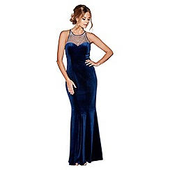Quiz - Royal blue velvet embellished high neck fishtail maxi dress