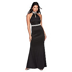 Quiz - Black embellished choker neck maxi dress