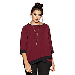Quiz - Curve berry and black 3/4 sleeves necklace top